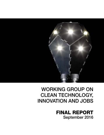 WORKING GROUP ON CLEAN TECHNOLOGY INNOVATION AND JOBS FINAL REPORT