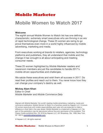 Mobile Women to Watch 2017