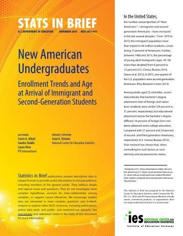 STATS IN BRIEF New American Undergraduates