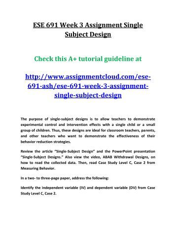 ESE 691 Week 3 Assignment Single Subject Design
