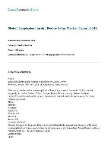 Global Respiratory Assist Device Sales Market Report 2016