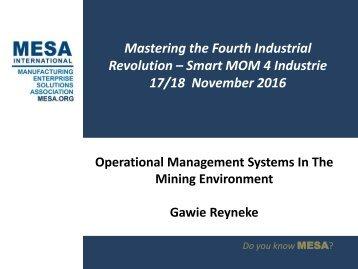 Gawie Reyneke MESA Africa Conference Presentations 2016 - 16 Nov