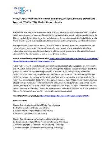 Global Digital Media Frame Market