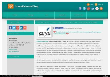 Cottage Delight chooses Carval for Payroll and Time and Attendance software
