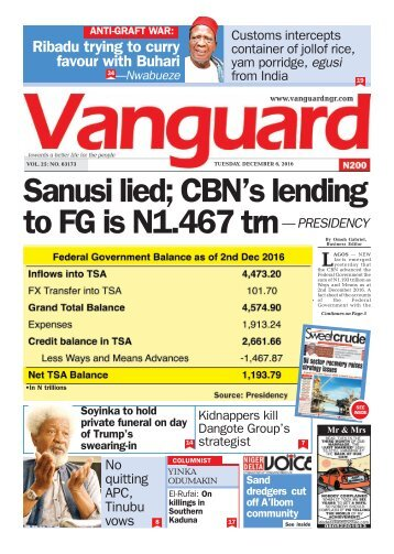 Sanusi lied; CBN's lending to FG is N1.467 trn— PRESIDENCY