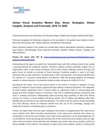 Global Visual Analytics Market 2016 Industry Overview, Outlook, Structure 2020