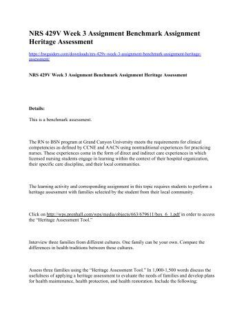 NRS 429V Week 3 Assignment Benchmark Assignment Heritage Assessment