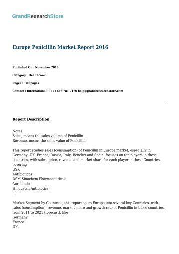 Europe Penicillin Market Report 2016