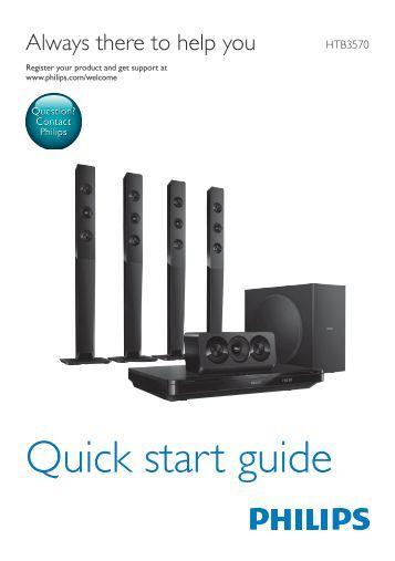 Philips Home Cinéma Blu-ray 3D 5 enceintes - Guide de mise en route - NOR
