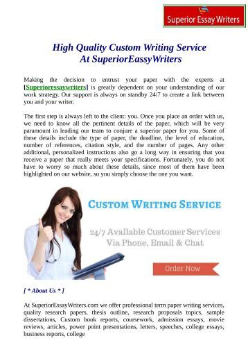 High quality essay writing