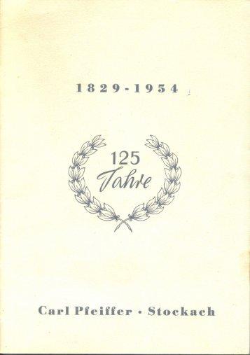 Imagebroschüre der Carl Pfeiffer GmbH & Co. KG zum 125 jährigen Jubiläum