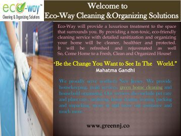 Housekeeping Services New Jersey| Eco-Way Cleaning & Organizing Solutions