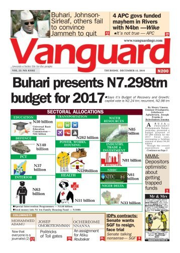 Buhari presents N7.298trn budget for 2017