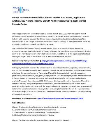 Europe Automotive Monolithic Ceramics Market