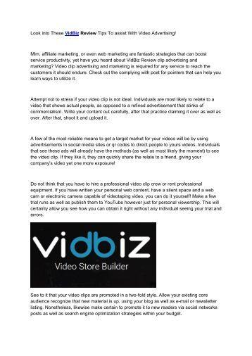 VidBiz Review And Bonus