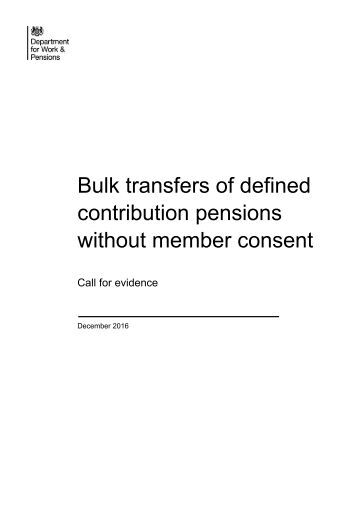Bulk transfers of defined contribution pensions without member consent