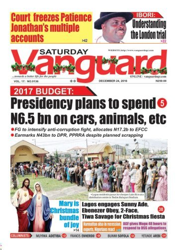 2017 BUDGET: Presidencey plans to spend N6.5bn on cars, animals, etc