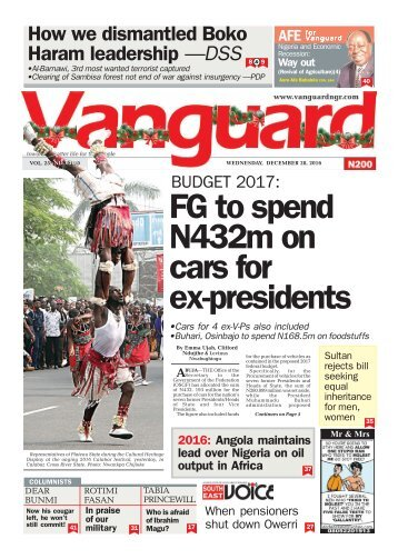 BUDGET 2017: FG to spend N432m on cars for ex-presidents