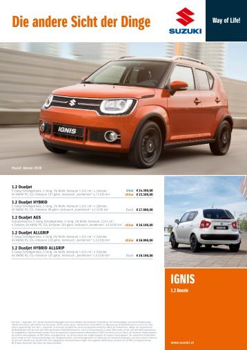 IGNIS Preis- und Ausstattungsliste