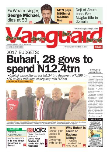 2017 BUDGETS: Buhari, 28 govs to spend N12.4trn