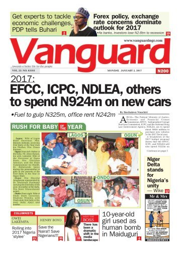 02012017 - 2017: EFCC, ICPC, NDLEA, other to spend N924m on new cars