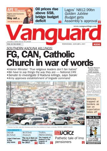 04012017 - SOUTHERN KADUNA KILLINGS: FG, CAN, Catholic Church in war of words