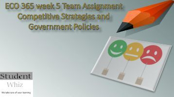 ECO 365 week 5 Team Assignment Competitive Strategies and Government Policies