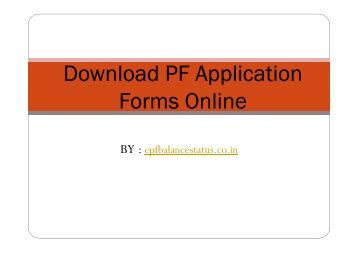 Download PF Application Forms Online
