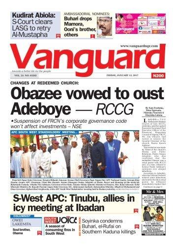 13012017 Obazee vowed to oust Adeboye - RCCG