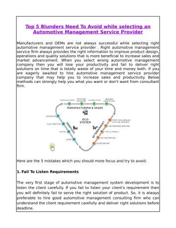 Top 5 Blunders Need To Avoid while selecting an Automotive Management Service Provider