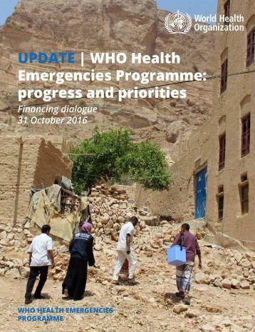 UPDATE   WHO Health Emergencies Programme progress and priorities