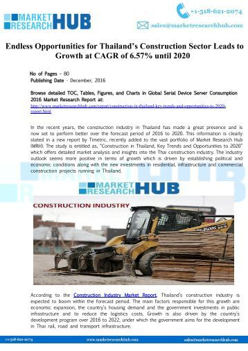 Thailand's Construction Market Research Report 2016