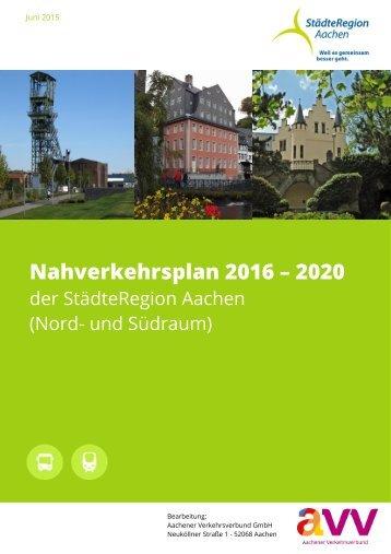 Nahverkehrsplan StaedteRegion Aachen 2016-2020