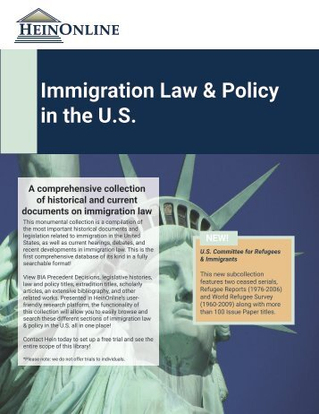Immigration Law & Policy in the U.S