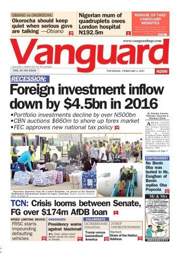 02022017 RECESSION: Foreign investment inflow down by .5bn in 2016