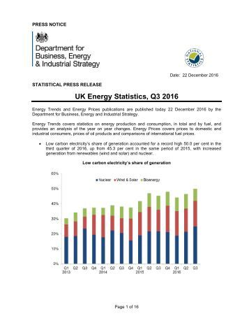 UK Energy Statistics Q3 2016