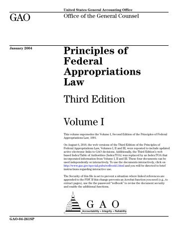 Principles of Federal Appropriations Law - US Government ...