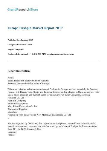 Europe Pushpin Market Report 2017