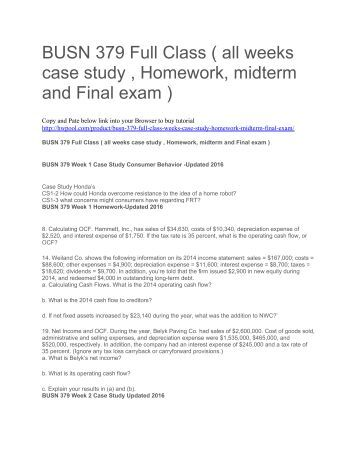 final exam case study A reap project case study june 2006 about the class  students wishing to  study basic psychology do so as  to by most students in their final exam  answers.