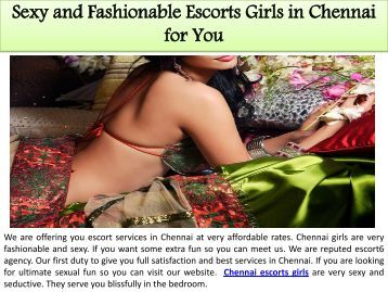 Sexy and Fashionable Escorts Girls in Chennai for You