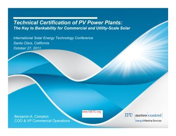 Technical Certification of PV Power Plants: - International Solar ...