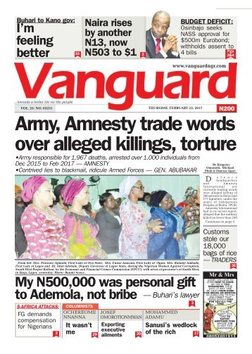 23022017 - Army, Amnesty trade words over alleged killings, torture