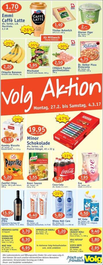 Volg Aktionen Montag 27.02.2017 - Samstag 04.03.2017