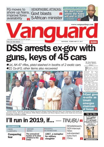 27022017 DSS arrests ex-gov with guns, keys of 45 cars