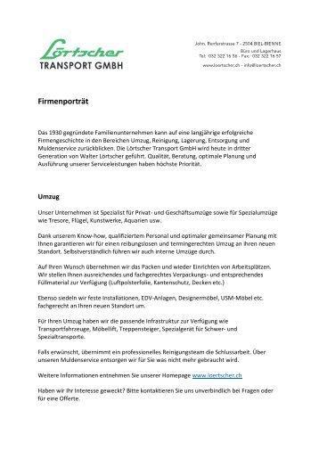 Umzüge | Lörtscher Transport GmbH