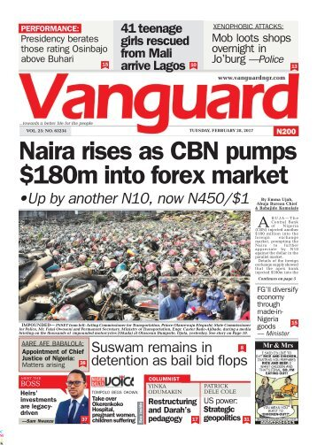 28022017- Naira rises as CBN pumps 0m into forex market