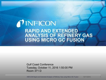 Extended Refinery Gas Analysis - Micro GC Fusion - INFICON
