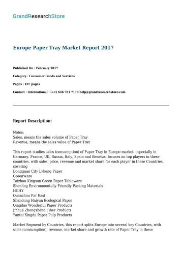 Europe Paper Tray Market Report 2017