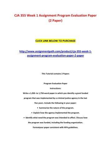 Program evaluation paper