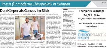 Praxis für moderne Chiropraktik in Kempen